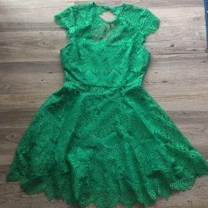 B.B. Dakota Fit and Flare Green Lace Dress