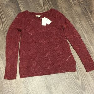 NWT Lucky Brand burgundy gold knit sweater, XS