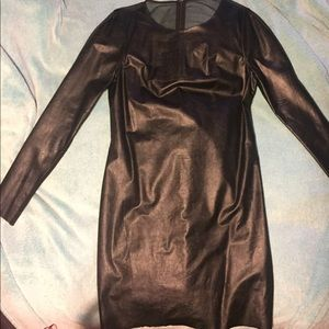 Bcbg Black Leather Dress