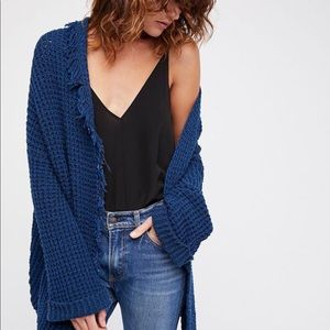 Free People I'll Be Around Cardigan-Blue Sapphire