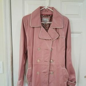 Mauve leather trench coat