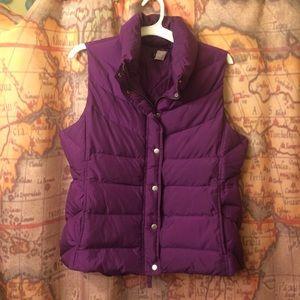 🎁🍆J. Crew L Puffer Vest Eggplant Gift Idea NWOT
