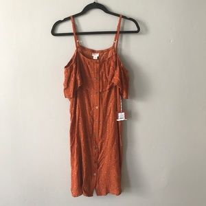 NWT Mossimo Rust Print Cold Shoulder Dress