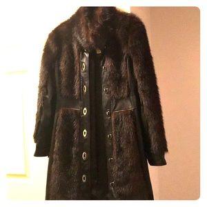 Rachel Zoe leather mink fur coat