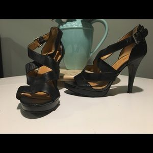 Nine West Platform Strappy Leather Heels