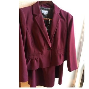 2 piece outfit matching burgundy jacket and skirt