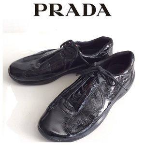Prada patent leather sneakers shoes
