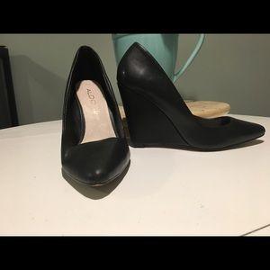 Aldo Leather Wedge Heels