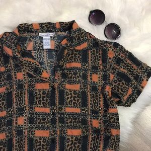Chain link leopard silk blouse