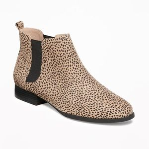Cheetah Sueded Chelsea Ankle Boots
