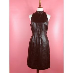 Vtg 80s High Neck Leather Wiggle Dress M