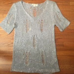 Sequin Distressed Sweater