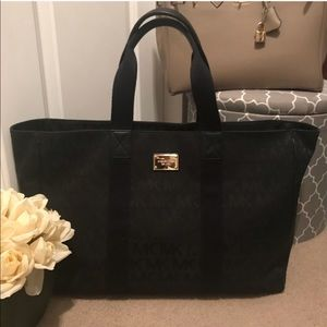 MK • Canvas & Leather Black Logo luggage Tote