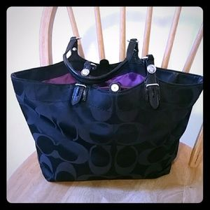 Black Coach Purse with Purple Interior
