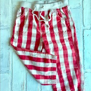Mini Boden Cute Red plaid Pants. 18-24 months