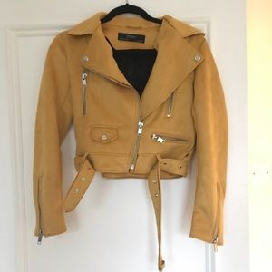 Yellow Suede Moto Jacket