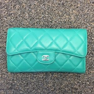 Chanel Green Quilt Lambskin Leather L Flap Wallet
