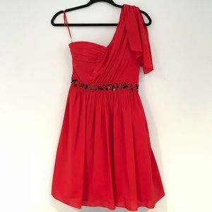 Short red party dress by Jessica Simpson