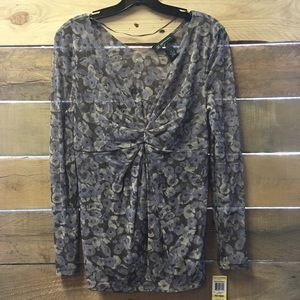INC Sheer Floral Blouse NWT