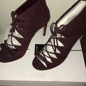 Dolce Vita Berry/Burgundy Suede Lace Up Booties
