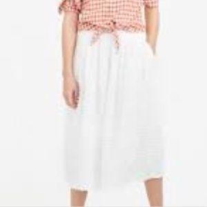 NWT J.Crew Midi Fringe Dot Skirt in Cream