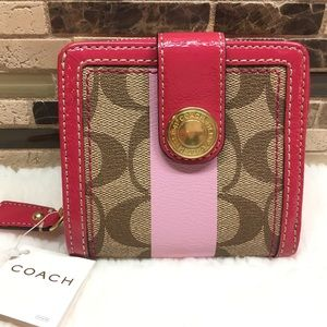 COACH Heritage Stripe Medium billfold Wallet 41112