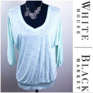 WHBM Double Sequins V-neckline Dolman Top