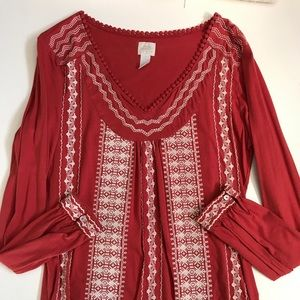 Lucky Brand Burnt Orange Embroidered Peasant Top