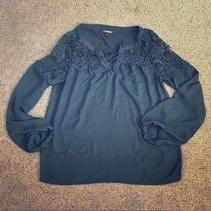 GORGEOUS Lace Up Blouse Dark Green