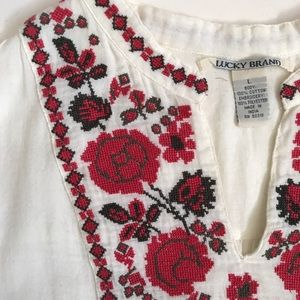 Lucky Brand Classic Embroidered Peasant Shirt Top