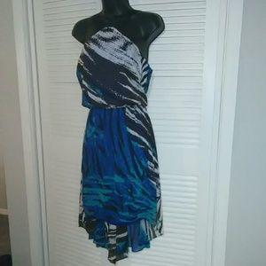 Bisou Bisou sz 6 blue black hi-lo halter dress