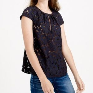 J.Crew cap sleeve floral lace top