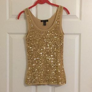 Silk & sequined lined gold tank, small petite sz.