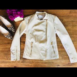 Calvin Klein Vegan Leather Jacket Cream NWT Sz L