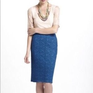Moulinette Souers Blue Lapis Lace Pencil Skirt S.2