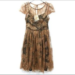 Anthropologie Honeyed Lace Dress - black & gold