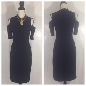 [Zara] Cold shoulder black sheath dress