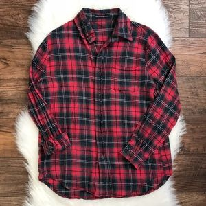 Brandy Melville Red Plaid Flannel Button Down R1