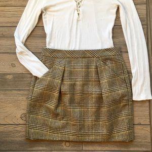 J. Crew Skirt Pencil Wool Plaid Flannel Tan Size 6