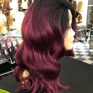Accessories - Wig Vibrant Burgundy Magenta Deep Wave New Wig
