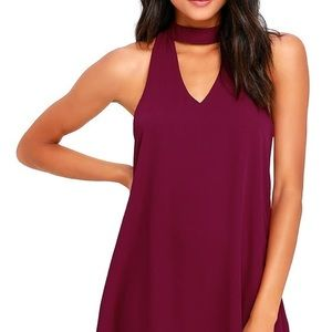 Purple Party Dress with High Neck Cutout