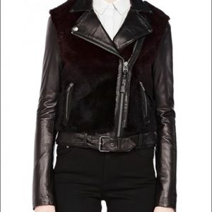MACKAGE TAMIKA MERLOT LEATHER FUR MOTO JACKET S