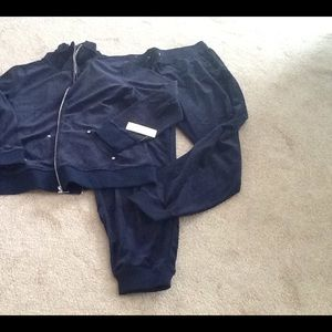 New Style & Co. Navy Velour Tracksuit size XL