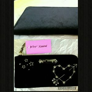 New! Betsey Johnson Black Velvet Wallet