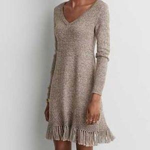 American Eagle V-Neck Fringe Sweater Dress