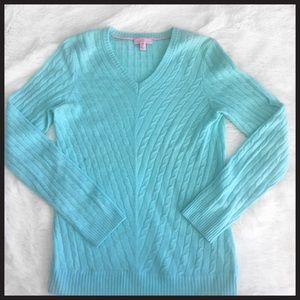 Lilly Pulitzer cashmere aqua sweater