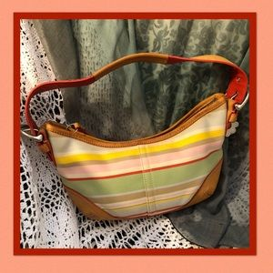Coach 4437 Striped Small Hobo Purse Bag Tote