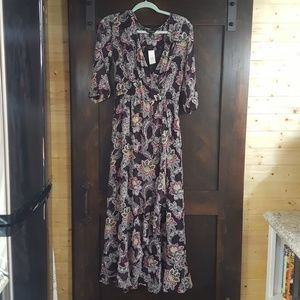 Banana Republic Ruffle Maxi Dress with Sleeves NWT