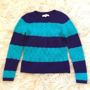 Ann Taylor LOFT Purple & Blue Striped Sweater