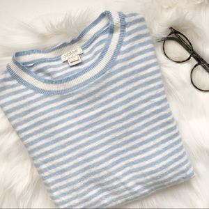 J. Crew Baby Blue Striped Sweater